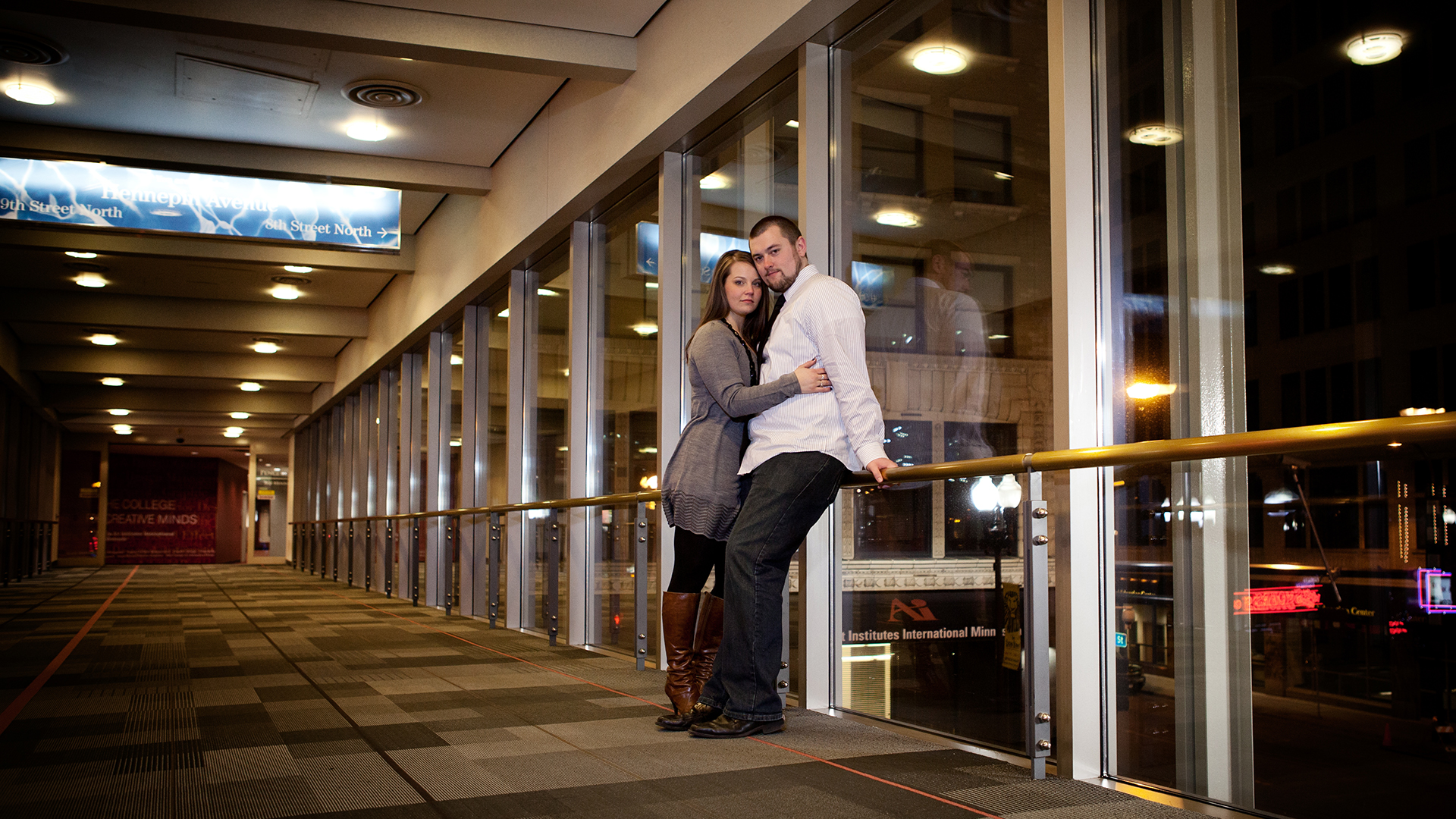 Minneapolis skyway engagement session photography