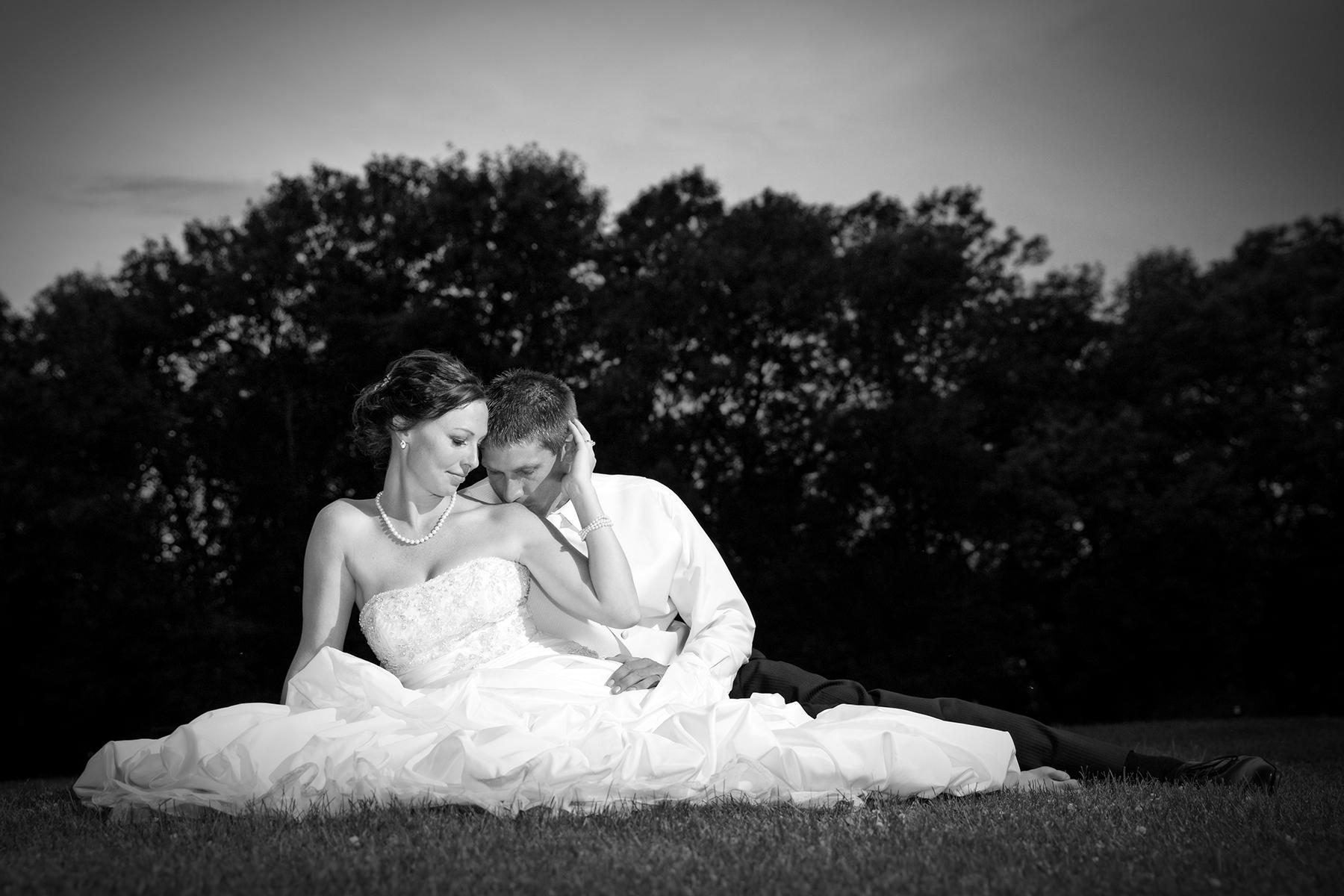 After dark wedding photo