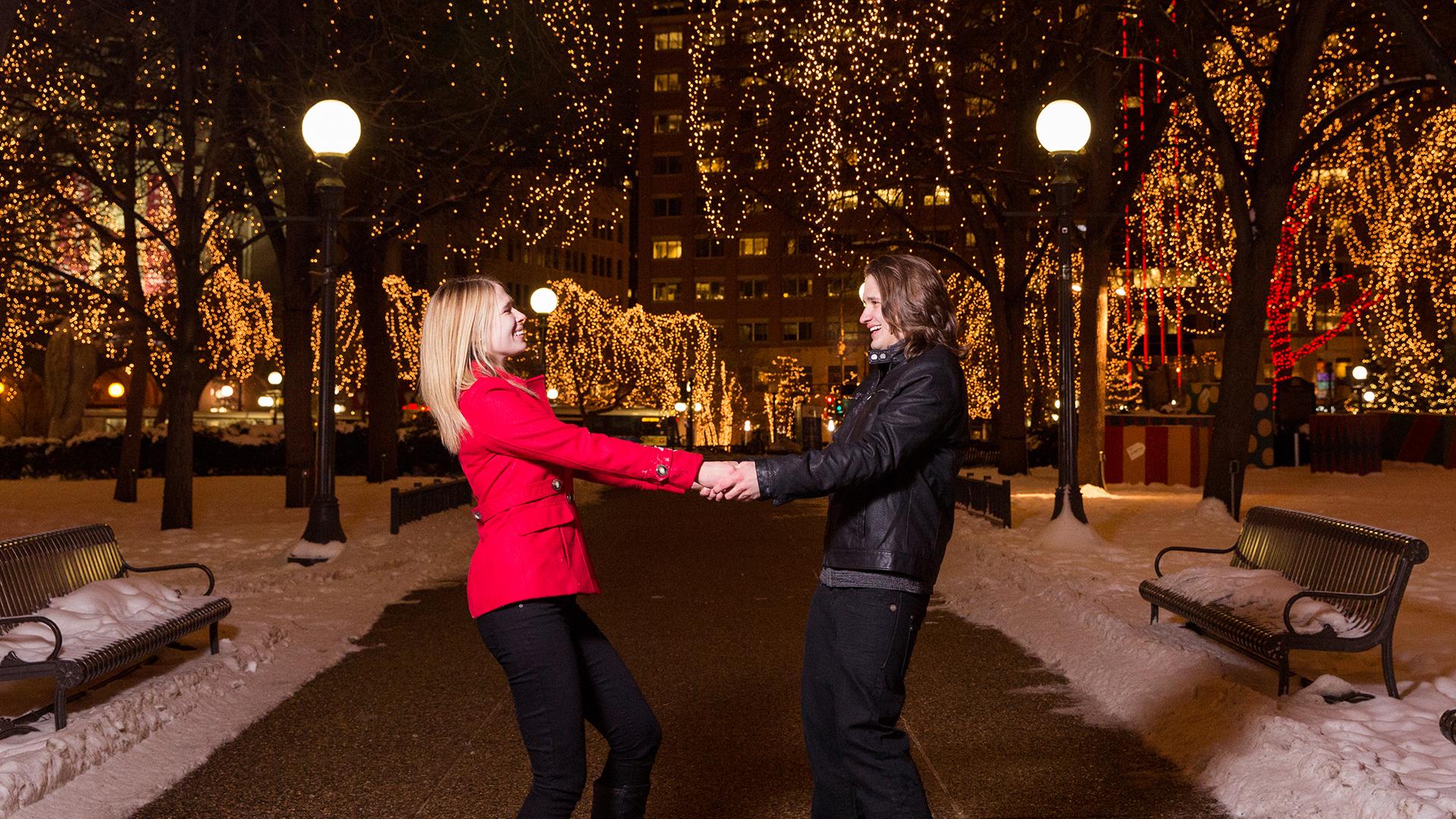 Saint Paul Winter Holiday engagement photography