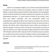 A bateria múltipla e suas performances | Projeto Mestrado Joao Casimiro