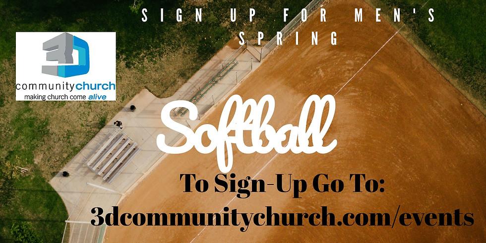 3D Men's Spring Softball Team Sign Up