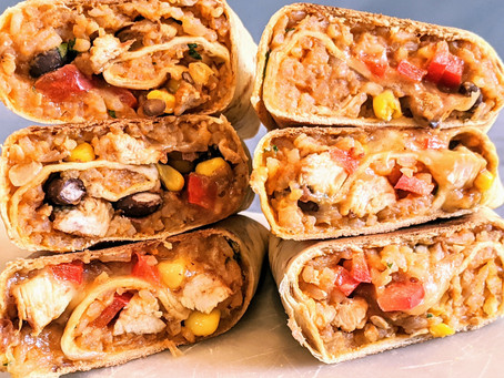 Chicken burritos with red rice OR make it vegan.  Omit the chicken and it's vegan.