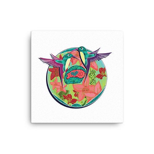 Canvas pregnancy art Hummingbird white