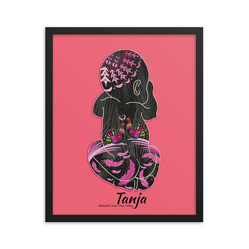Framed Birth Poster - Doves Pink_n