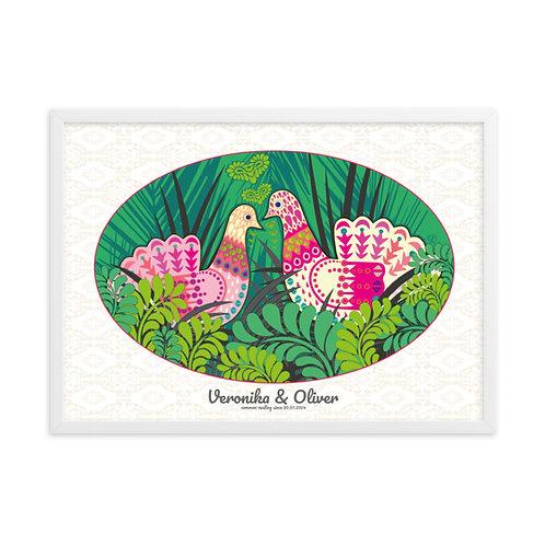 Obraz v bielom ráme pre dvojicu Holubice v zelenej
