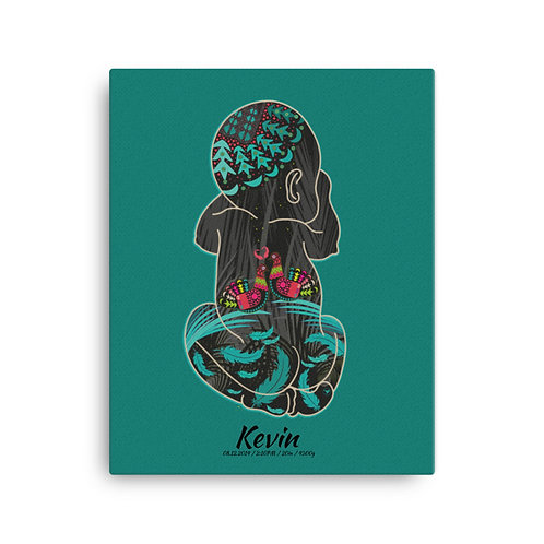 Canvas Print - Birthposter - Doves Green blue