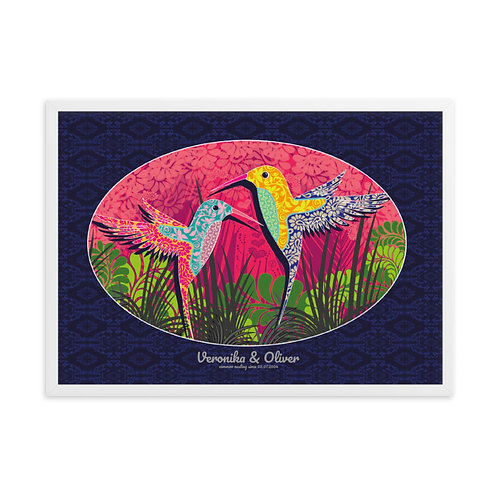 Wedding Hummingbird Blue - personalized framed poster art /w