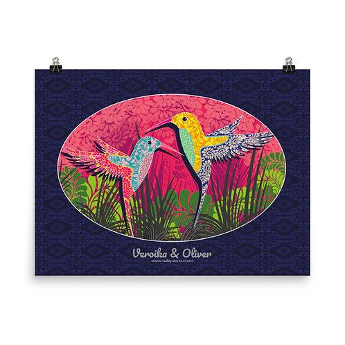 Photo paper poster print art Wedding Hummingbird Blue