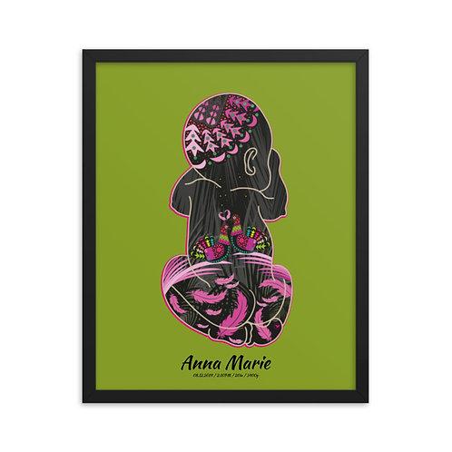 Framed Birth Poster - Doves Green