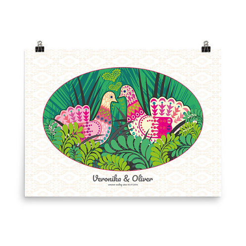 Photopaper Wedding Poster - Doves Green