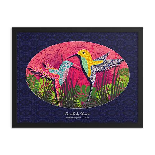 Framed Wedding Poster - Hummingbird Blue