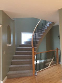 Painted Walls and Sprayed Staircase Handrail.