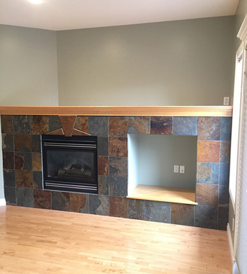 Painted Walls and Sprayed Wood of Fireplace