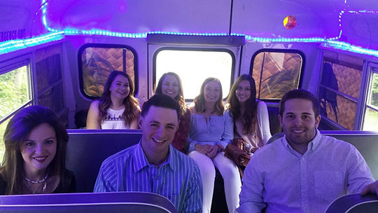 Happy riders on the Tiki Taxi!