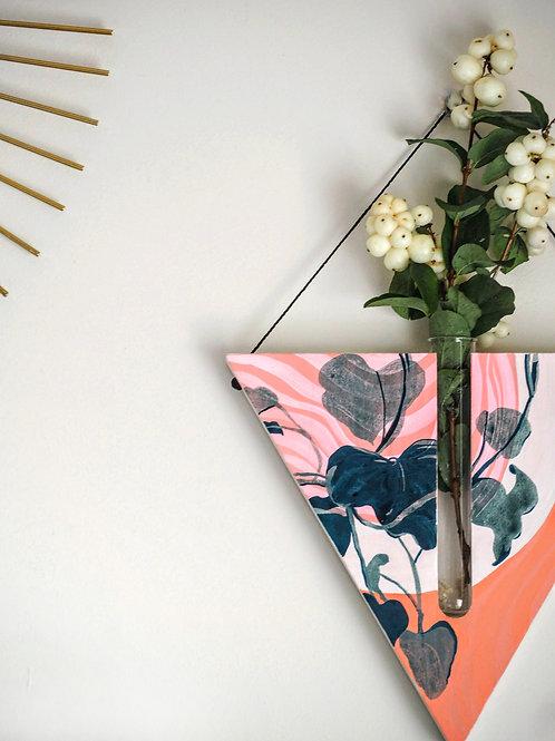 Pink rainbow triangular wall planter