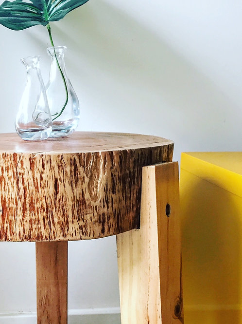 Double timber stump side table