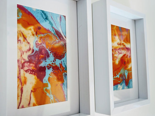 Set of Framed resin artworks