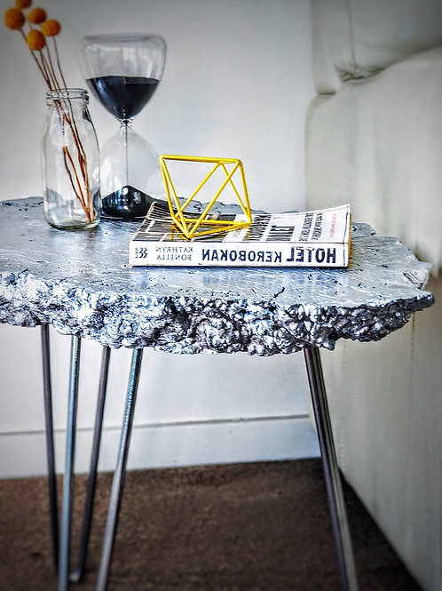 Silver nugget accent table
