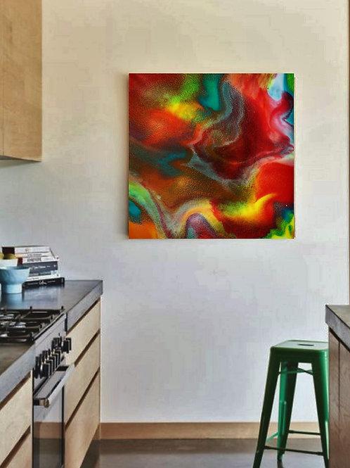 ''Colorful water'' Resin artwork