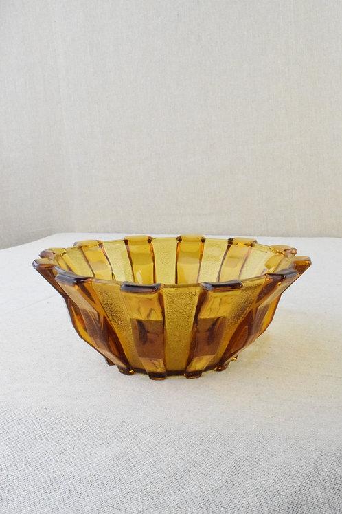 Art Deco Stölzle Amber Glass Bowl