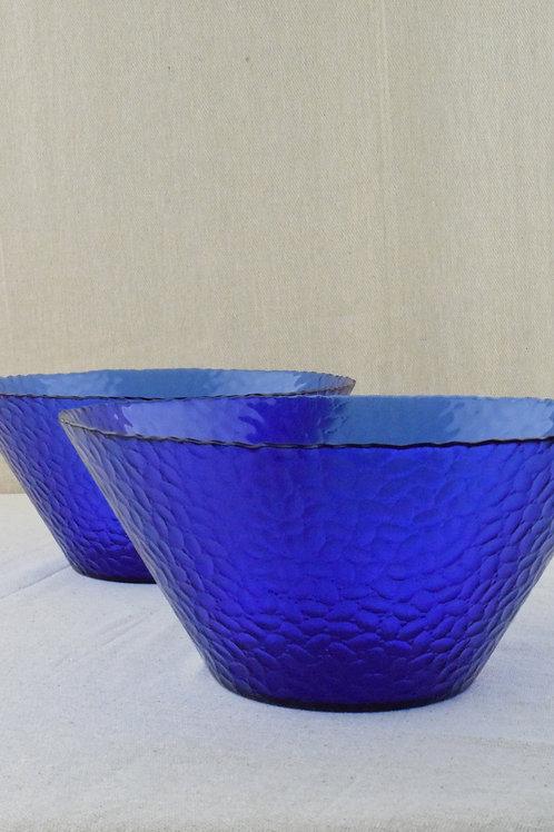 Pair of Blue Glass Fruit Bowls