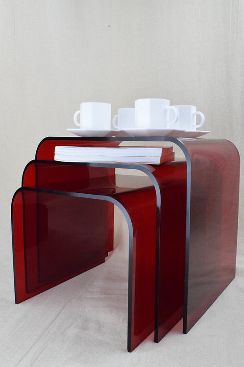 Red Perspex Nest of Tables