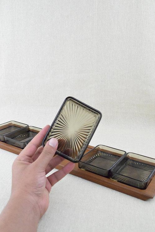 Mid Century Teak & Smoked Glass Serving Tray