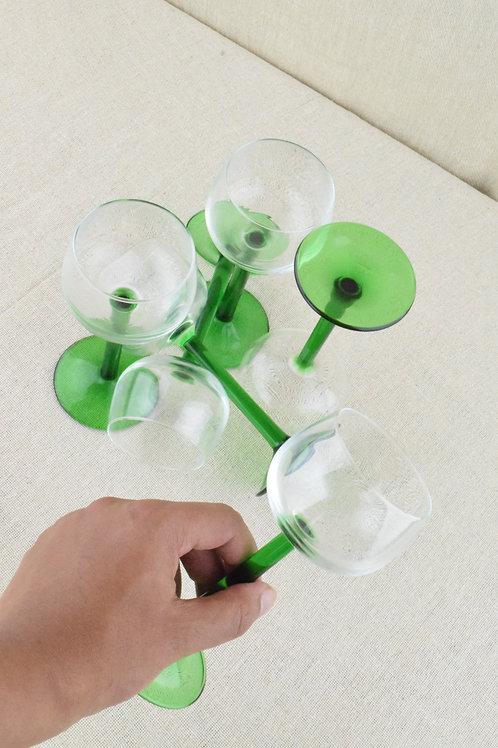 Luminarc Green Stemmed Glasses