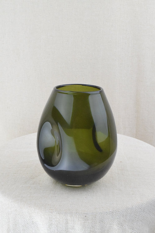 Pinched Smoked Glass Vase