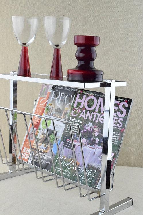 Chrome & Smoked Glass Magazine Rack