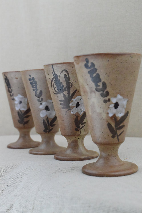 Set of Studio Pottery Wine Goblets