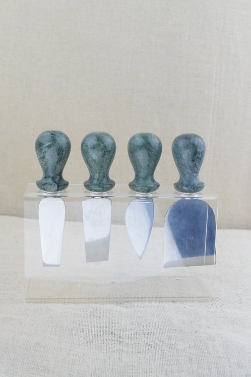 Green Marble Cheese Knives & Stand