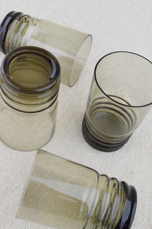 Ribbed Smoked Glass Water Glasses
