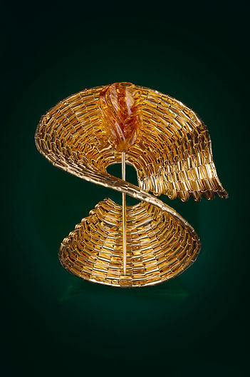 Museum Brooch -- Carved Citrine + Gold S