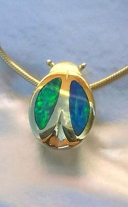 Opal LadyBug Pendant