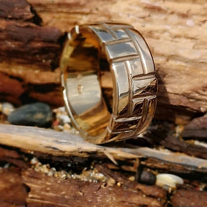 Wide Yellow Gold Band - Brick Pattern