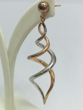 Rose and White Gold Twist Earrings - 9 carat