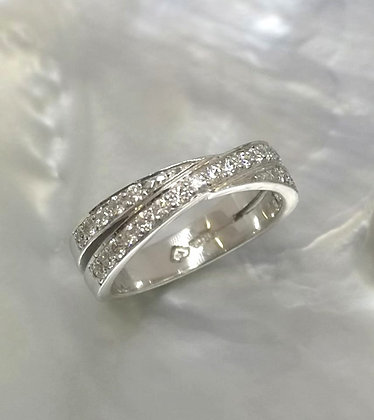 Diamond Crossover Band, 18ct White Gold