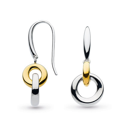 Bevel Cirque Link Gold Drop Earrings