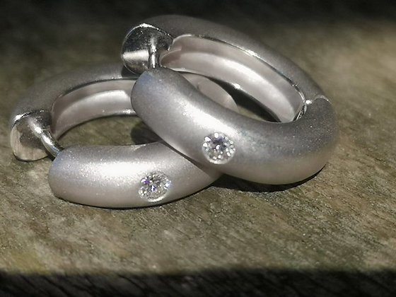 White Gold and Diamond Huggie Earrings