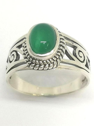 Green Agate Sterling Silver Koru Ring