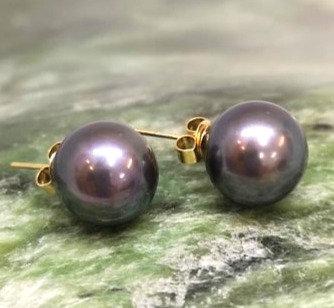 Black Freshwater Pearl Stud Earrings, 14ct