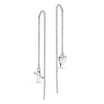 Desire Kiss Heart & 'X' Thread Earrings