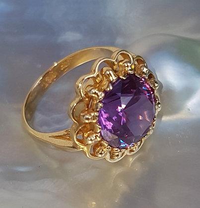 Flower Ring - Purple Sapphire