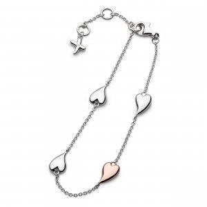Desire Kiss Blush Heart Station Bracelet