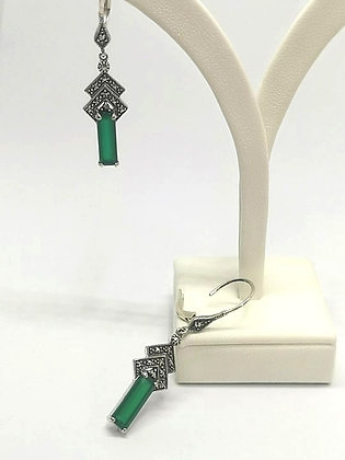 Green Agate and Marcasite Deco Earrings