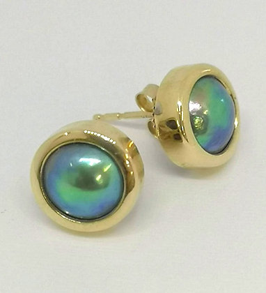 New Zealand Blue Pearl Stud Earrings, 9 carat Yellow Gold