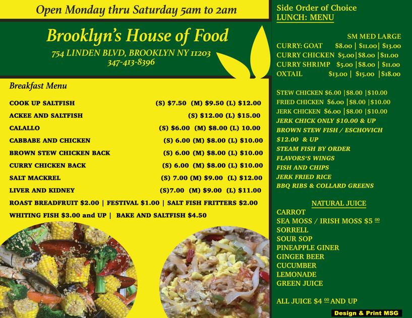 Brooklyn's House of Food Menu