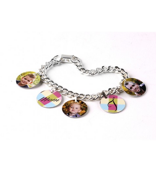 5900-Charm Bracelet With 5 Bales And Circle Charms 7.25""