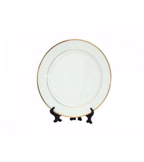 """8"""" Ceramic Plate With Gold Rim (PLATE8C)"""